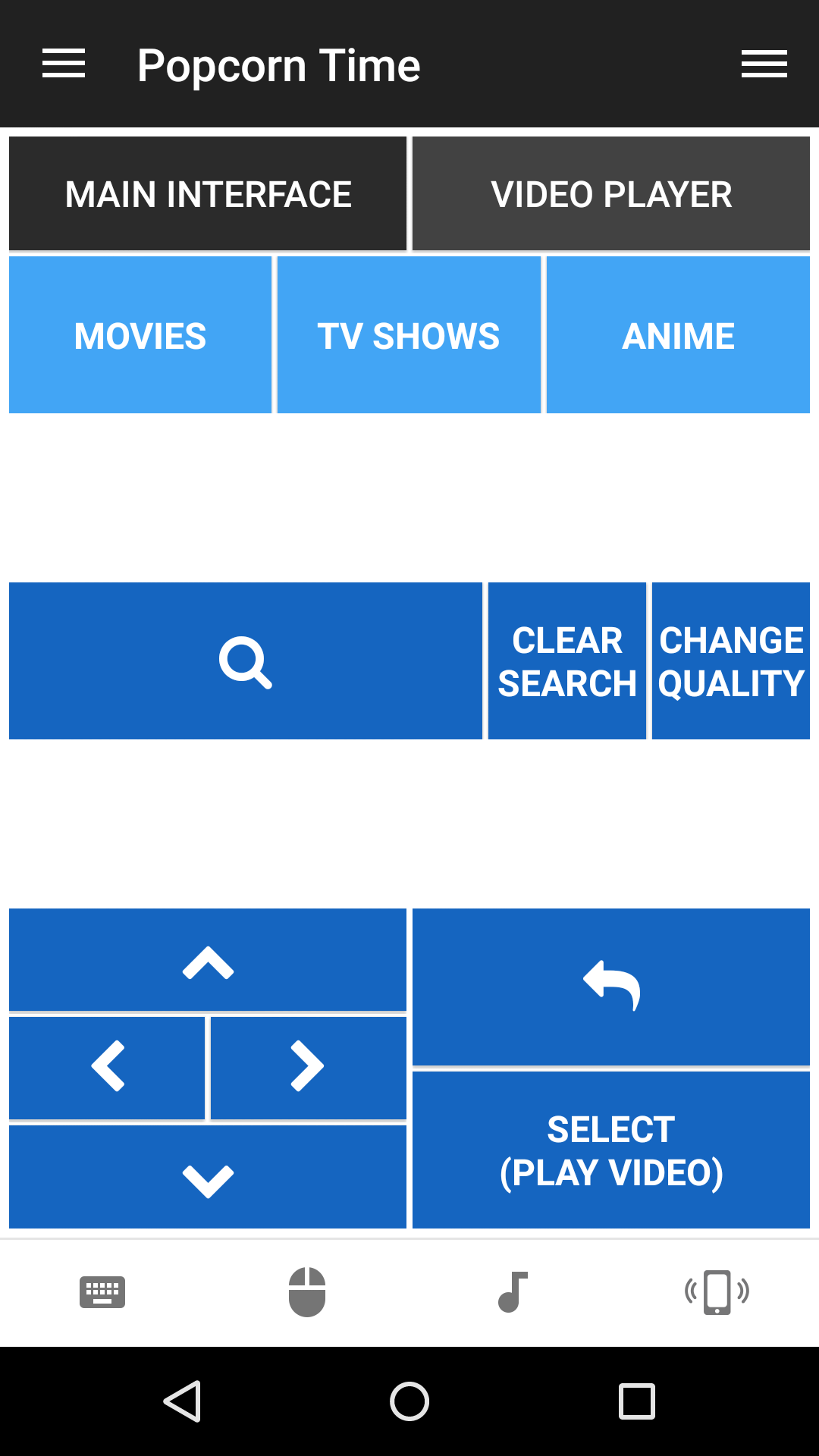 Main interface interface of PopcornTime remote